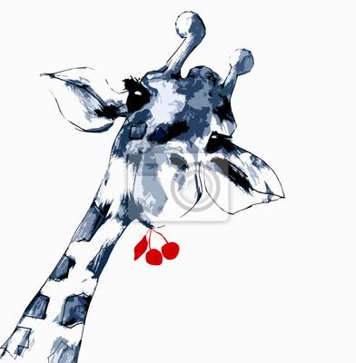 Plakát Žirafa s třešněmi