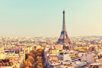 Plakát Zobrazit na Eiffelovy věže při západu slunce
