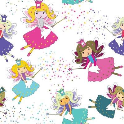 Plakát Zubní víly s kouzelnými hůlkami a hvězdami. Bezešvé vzor. Vektorové ilustrace na bílém pozadí