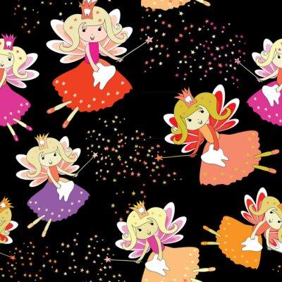 Plakát Zubní víly s kouzelnými hůlkami a hvězdami. Bezešvé vzor. Vektorové ilustrace na černém pozadí