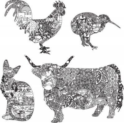 Plakát zvířata v etnické ozdoby